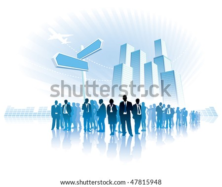 Businesspeople are standing in front of a direction sign, high buildings in the background.