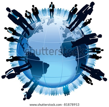 Businesspeople are standing on a large world globe,