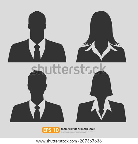Businesspeople avatar profile picture set including males & females - on gray  background