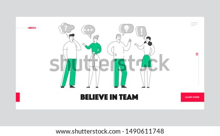 Businesspeople Communicating Website Landing Page. Men and Women Chatting and Communicate in Office or at Home. Business Characters Discussion Process Web Page Banner. Cartoon Flat Vector Illustration