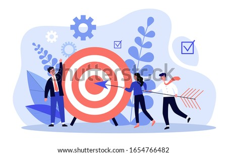 Businesspeople driving arrow to goal. Successful professional team hitting target. Vector illustration for challenge, aim, achievement, teamwork, business, marketing concept