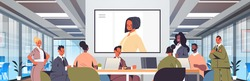 businesspeople having online conference mix race business people discussing with businesswoman during video call office meeting room interior horizontal portrait vector illustration