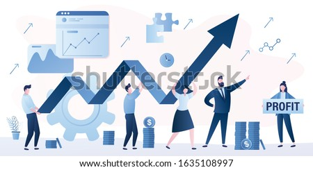 Businesspeople holding big arrow. Handsome businessman boss leads and directs. Company teamwork banner template. Woman accountant with board- profit. Stock market analysis. Vector illustration Сток-фото ©