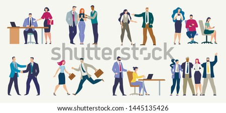 Businesspeople in Different Work Situations Flat Vector Set Isolated on White Background. Secretary Giving Document to Boss, Colleagues Messaging by Phone, Hurrying Employee, Hugging Team Illustration