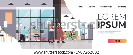 businesspeople in masks working and talking together in coworking center business meeting teamwork concept modern office interior horizontal full length copy space vector illustration Photo stock ©