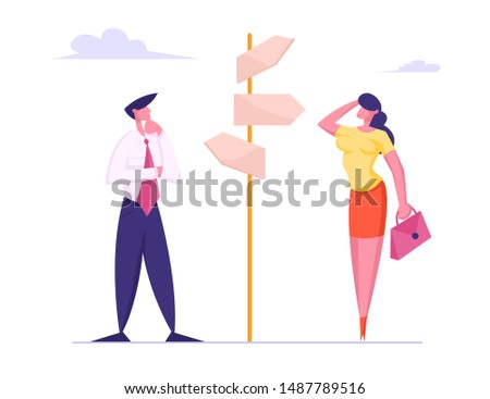 Businesspeople Making Important Decision and Choice Standing at Crossroad Pointer with Several Ways Directions in Business or Life. People Decide what Way to Choose. Cartoon Flat Vector Illustration