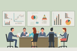 Businesspeople, man and woman, talking, discussing in meeting room. With chart and graph statistics background. Diverse, multi-ethnic, flat design.