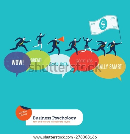 Businesspeople running on motivated speech bubbles. Vector illustration Eps10 file. Global colors. Text and Texture in separate layers.
