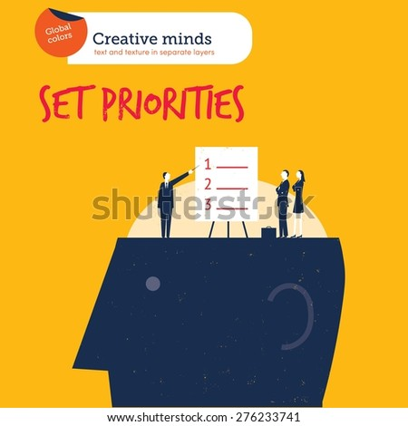 Businesspeople setting priorities on a head. Vector illustration Eps10 file. Global colors. Text and Texture in separate layers.