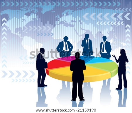 Businesspeople standing next to a large graph, conceptual business illustration.