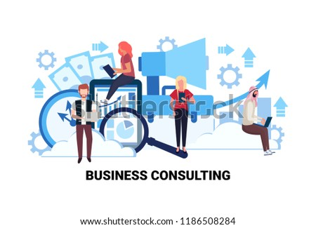 businesspeople using gadgets online business consulting concept men women financial analytics consultants finance graph diagram cartoon character flat horizontal vector illustration