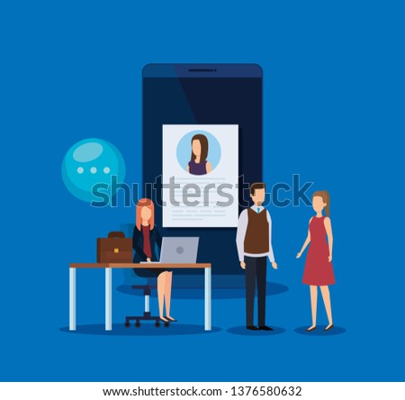 businesspeople with curriculum vitae and chat bubble #1376580632