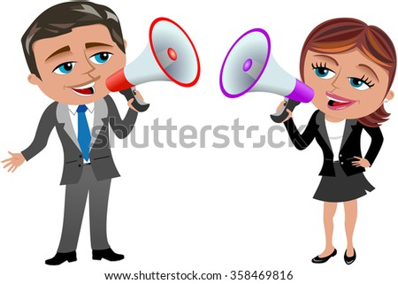 businesswoman and businessman holding and speaking in megaphone isolated