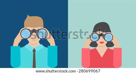 Businesswoman and businessman holding binoculars, vector illustration