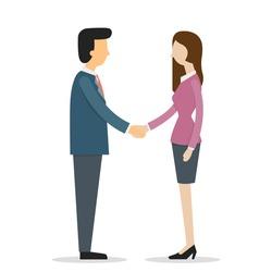 Businesswoman and businessman shaking hands. Vector illustration cartoon character with flat design.