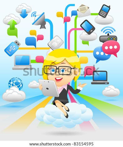 businesswoman and cloud network