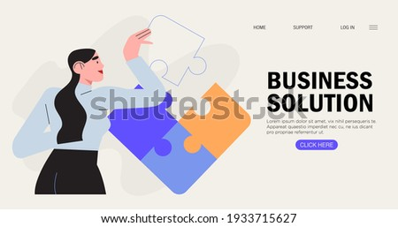Businesswoman assembling together jigsaw puzzle pieces. Concept of brainstorming, project planning and and business process. Work organisation management banner, web landing page. Business solution.