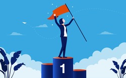 Businesswoman at first place - Woman with flag in hand standing on podium celebrating her triumph. Female winner and success concept. Vector illustration.