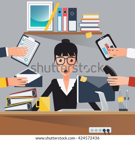 Businesswoman at Work. Shocked Multitasking Woman. Business Lady. Secretary with Computer. Vector illustration