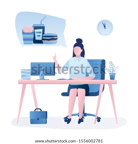 Businesswoman at workplace. Lunch or break time concept. Beauty woman worker thinks about fast food. Workspace and female employee isolated on white background. Trendy style vector illustration