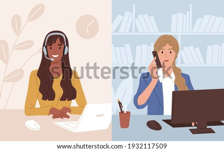 Businesswoman at workplace talking to assistant of call center. Operator of customer support service consulting client online. Colored flat vector illustration of online helpline or hotline Photo stock ©