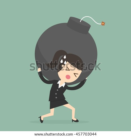 businesswoman carrying the bomb