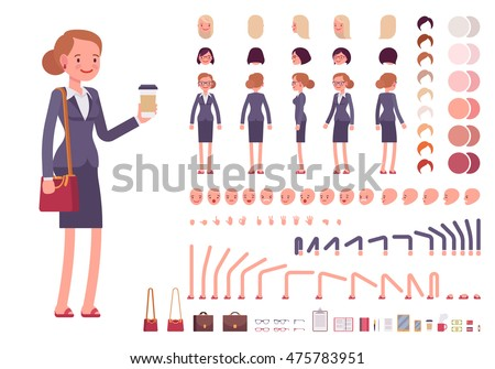 Businesswoman character creation set. Full length, different views, emotions, gestures, isolated against white background. Build your own design. Cartoon flat-style infographic illustration