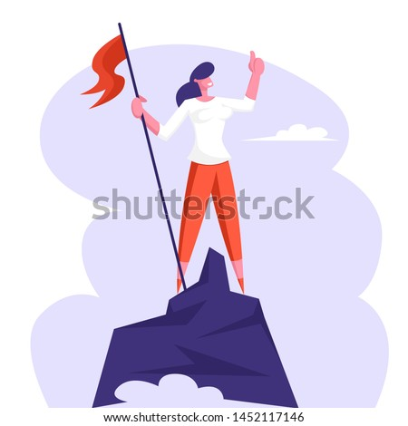 Businesswoman Character Hoisted Red Flag on Mountain Top. Business Woman on Peak of Success. Leadership, Winner, Challenge Goal Achievement, Successful Manager Concept Cartoon Flat Vector Illustration
