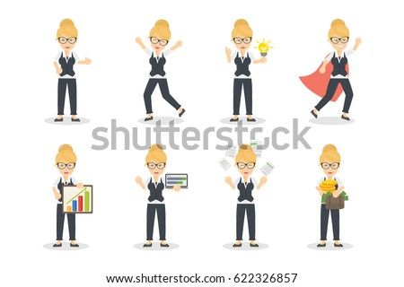 businesswoman character set on