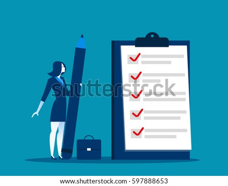 Businesswoman checklist on the clipboard. Concept business illustration. Vector