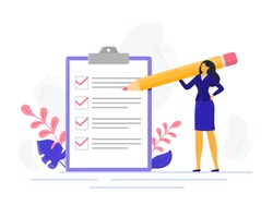 Businesswoman checklist. Successful woman checking task success, completed business tasks. Check mark list, office organization briefings or questionnaire checkbox vector illustration