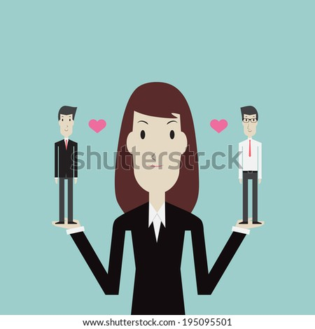 Businesswoman choose the right man - Vector