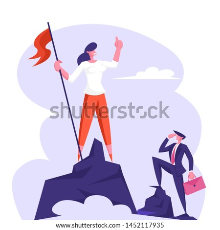 Businesswoman Climbed to Top of Mountain Enjoying Victory. Employee Hoisted Flag to Rock Peak, Success, Business Competition, Challenge, Goal Achievement Concept Cartoon Flat Vector Illustration