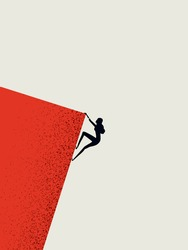 Businesswoman climbing cliff vector concept. Career promotion, progress, opportunity symbol. Minimal art style. Eps10 illustration.