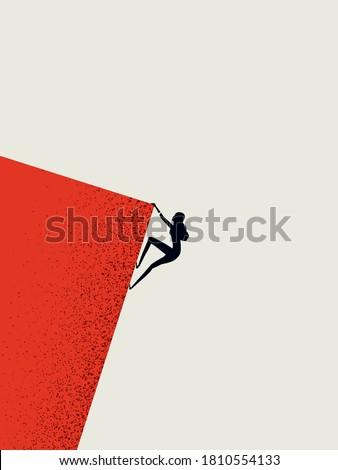 Businesswoman climbing cliff vector concept. Career promotion, progress, opportunity symbol. Minimal art style. Eps10 illustration.