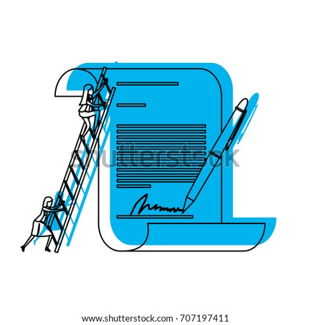 businesswoman climbing wooden stairs in a big contract document with pen and firm blue watercolor silhouette vector illustration