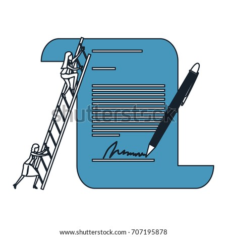 businesswoman climbing wooden stairs in a big contract document with pen and firm color blue sections silhouette vector illustration