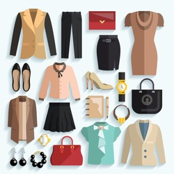 Businesswoman clothes decorative icons flat set with jacket panties purse isolated vector illustration