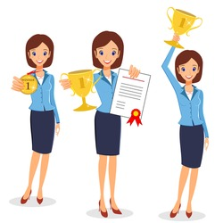 Businesswoman concept winner success. Excited smiling cartoon female raising trophy prize, medal and certificate. Isolated on white background