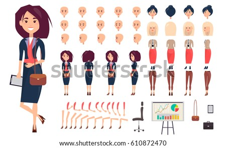 Businesswoman constructor vector illustration. Set includes women faces, legs and arms, stylish haircuts, elegant suit and shoes, casual trousers, accessories, office chair, chart board and character.