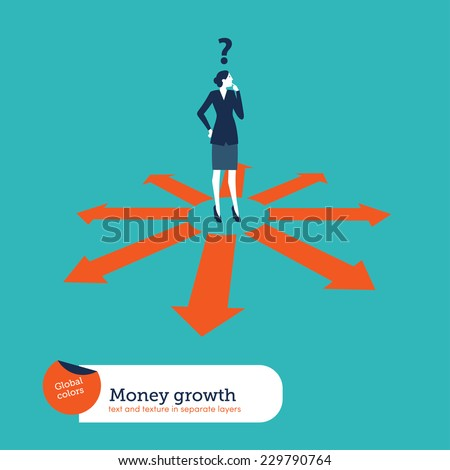 Businesswoman doubting which direction is the best. Vector illustration Eps10 file. Global colors. Text and Texture in separate layers.