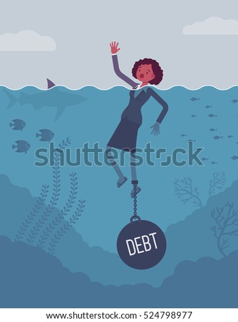 businesswoman drowning chained