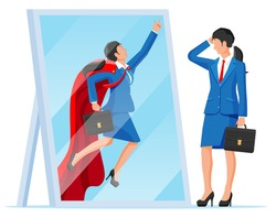 Businesswoman facing herself as superhero in mirror. Business ambition and success concept. Symbol of power, leadership, courage, bravery. Achievement and goal. Flat vector illustration
