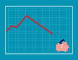 Businesswoman falling down a red arrow on a chart. Concept business vector illustration, Risk, Problem.