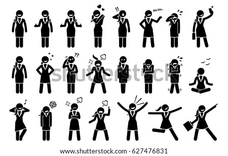 Businesswoman Feelings and Emotions. Artwork depicts business woman body language actions and expressions such as happy, sad, cheerful, angry, surprised, and determination.