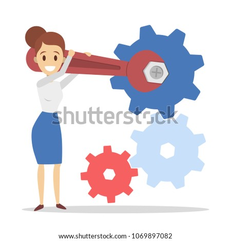 Businesswoman fixing gears with working equipment on white.