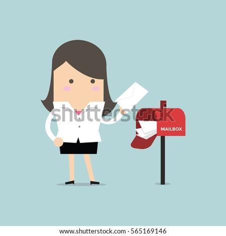 businesswoman got a lot of mail