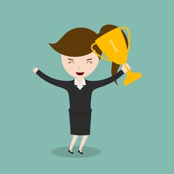 Businesswoman holding trophies,Vector EPS 10