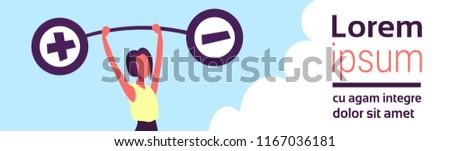 Businesswoman holding weights balance scales plus minus sign debt loan crisis concept positive negative debit credit female cartoon character flat horizontal banner copy space vector illustration