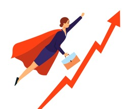 Businesswoman in superhero suit flying to success, red graph with rising arrow and cartoon woman in hero costume. Symbol of career growth, isolated flat vector illustration on white background
